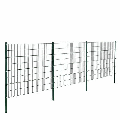 [pro.tec] Fence 6x1,6m Green Double Rod Fence Set Grid Meshes Metal Fence