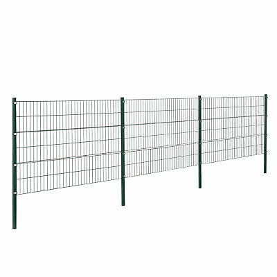 [pro.tec] Fence 6x1, 2m Green Double Rod Fence Set Wire Metal Fence
