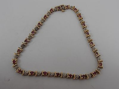 9ct YELLOW GOLD DIAMOND & RUBY BRACELET FULL ENGLISH HALLMARKS