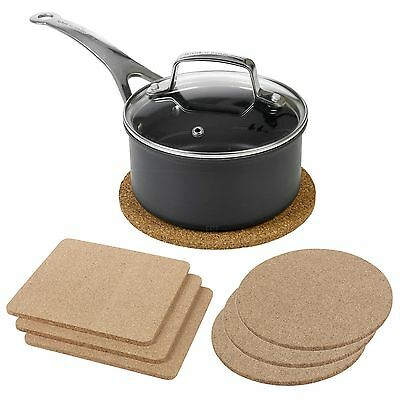 3pc Natural Cork Coaster Heat Resistant Surface Protection Round Square Kitchen