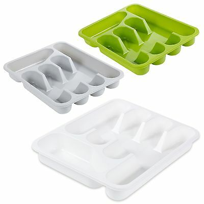 5 Compartment Plastic Cutlery Tray Kitchen Drawer Organiser Holder Storage Tidy