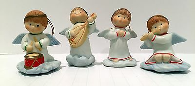Vintage Porcelain CHRISTMAS Angels Playing Musical Instruments Set of 4
