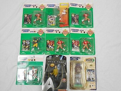 Lot of 9 NIB Collectible Action Figures - 8 Sports/1 Star Trek