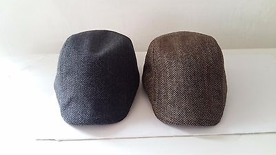 Boys Childrens Kids Wool Tweed Herringbone Evacuee Flat Cap Hat - 2 Styles