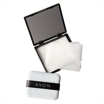 Avon Blotting Paper Compact with Mirror & Sponge 80 sheets of blotting paper