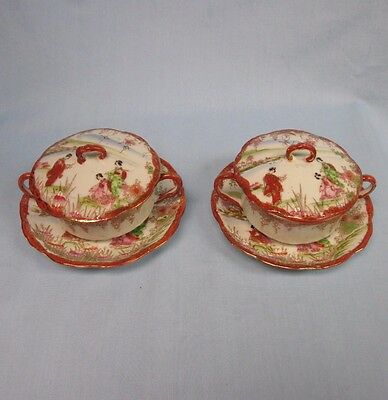 Pair 2 Vintage Geisha Girl Porcelain Red & Gilt Covered Cream Soup Cup & Saucers