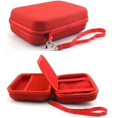 Red Hard Carry Case For Garmin Nuvi 57LM 58LM 5'' GPS Sat Nav With Storage