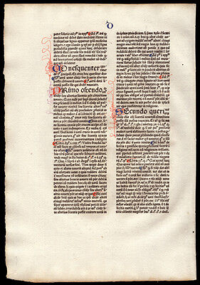 Commentary on  Sentences of Peter Lombard Bishop of Paris 1477 Incunable Leaf