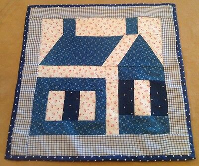Antique School House Patchwork Quilt Wall Hanging, Early Blue, Red, White Calico