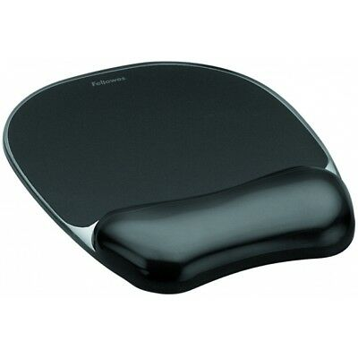 Fellowes Crystal Gel Mouse Pad + Wrest Black 9112101 - Brand New!