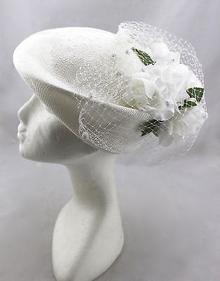 MR. CHARLES Vintage White Straw Woven Floral flower Netting Cloche Dress Hat New