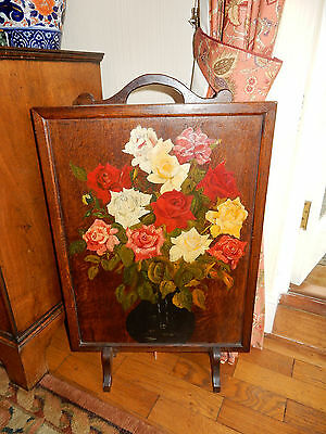 Antique Oak Hand Decorated Floral Flower Still Life Painting Fire Guard