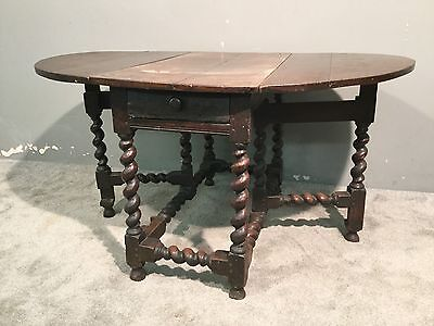 Antique Georgian Solid Oak Barley Twist Drop Leaf Gate Leg Kitchen Dining Table