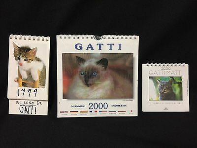Set of 3  Cat Calendars  from Italy SOO CUTE!