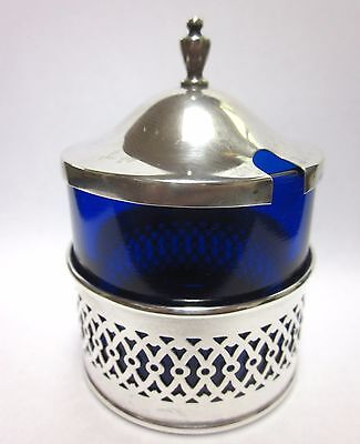 Webster Sterling Silver Cobalt Blue Glass Mustard Condiment Pot