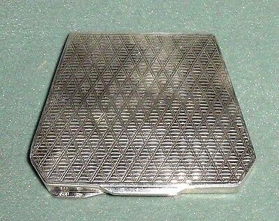 OLD SILVER 800 HALLMARKS COMPACT POWDER CASE BOX w/ MIRROR & PINK PUFF
