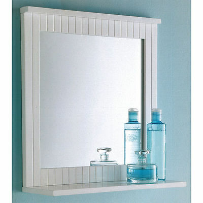 New Maine White Bathroom Wood Frame Mirror Wall Mounted with Cosmetics Shelf