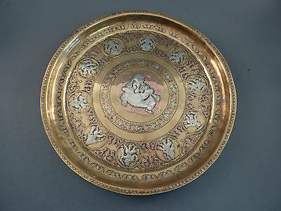 Ornate Indian Silver And Copper Inlaid Brass Tray