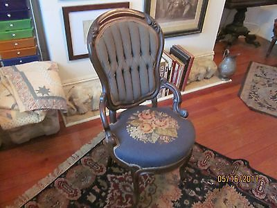 Antique Victorian Carved Mahogany Chair with Needlepoint Back and Seat
