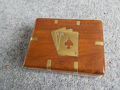 Small Wooden Brass Inlaid Playing Cards Hinged Box