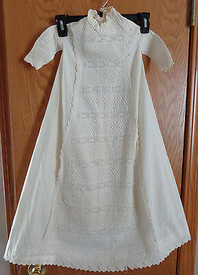 Antique/Vintage 1900's Baby Off-white Eylet Cotton Long Christening Dress/Gown
