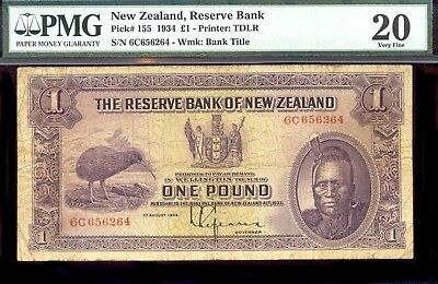 riotis 4518:   PMG20 NEW ZEALAND 1 POUND 1934 P-155, PRINTER: TDLR