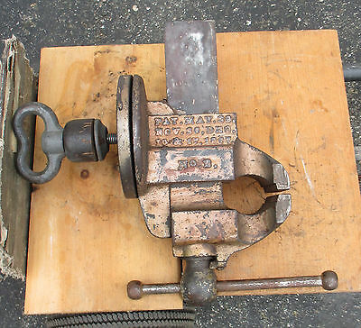 "Antique Chas Parker Cast Iron  Swivel Bench Vise No. 2 Meriden Ct 4"" Wide Jaws"