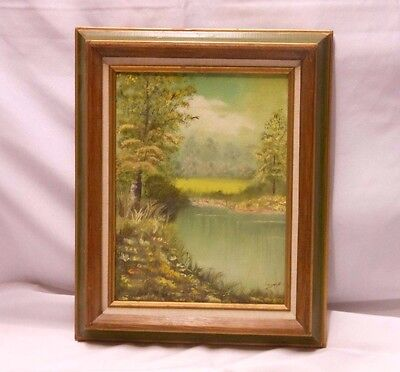 "Artist signed Oil Painting frame Lake River Bank Scenery Woods on 9""x12"" Canvas"