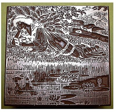 """art Nouveau Lady Reading By A Stream"" Printing Block."