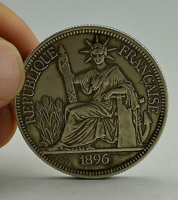 19 Century Antique Vintage Old Silver Cast Liberty French Concession Coin