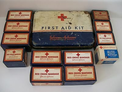 VINTAGE Johnson + Johnson Metal First Aid Kit and vintage bandages