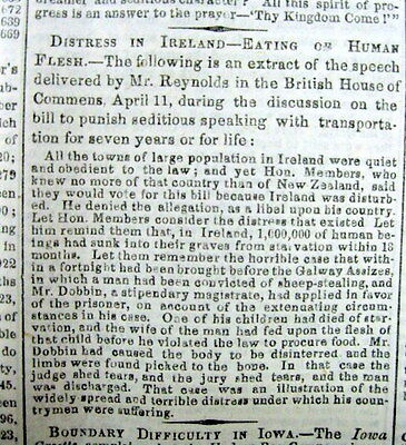2 1848 newspapers GREAT IRISH POTATO FAMINE described EMIGRATION Ireland to US