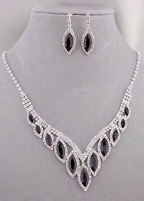 Black Tear With Crystal Rhinestone Necklace Set Silver Fashion Jewelry NEW