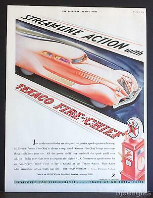 1934 Texaco Greater Fire-Chief Gasoline Streamline Action Vintage Print Ad