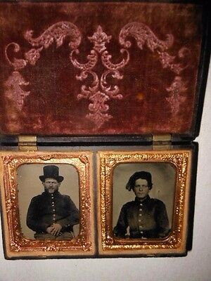 """Civil War Soldiers (2) 1/9 Ambrotype - """" Rare """" Thermoplastic Case"""