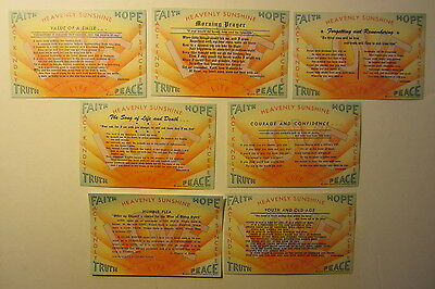 Lot of 7 Old Vintage 1940's HAPPY HEARTS CLUB Postcards - Faith Hope Truth Peace