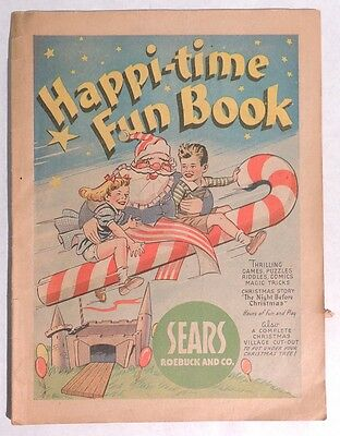 P203 Vintage HAPPI-TIME FUN BOOK w/ Christmas Cut Out Sears Roebuck & Co (1940s)