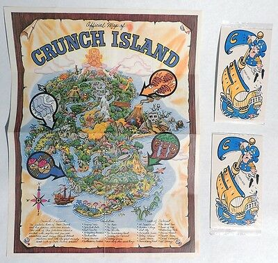 P191. Lot of 3: OFFICIAL MAP OF CRUNCH ISLAND & Punch Out Premium (1980s) [