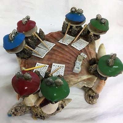 Vintage Sea Shell Art Big Eyed Frogs Playing Bingo Handcrafted 6.5 x 3.5 Inches