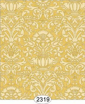 Miniature Dollhouse 1:12 Scale Wallpaper Annabelle Damask Yellow Gold - 2319