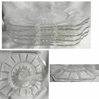 """Set of 5 Clear Glass Hobnail Columbia Federal 9"""" Dinner Plates"""