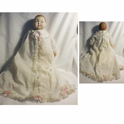 """Vintage 14"""" Bisque & Cloth Body Baby Infant Doll with Clothes Needs Repair"""