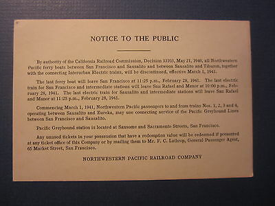 Old Vintage 1941 NORTHWESTERN PACIFIC Railroad - S.F. Ferry Boat NOTICE CARD