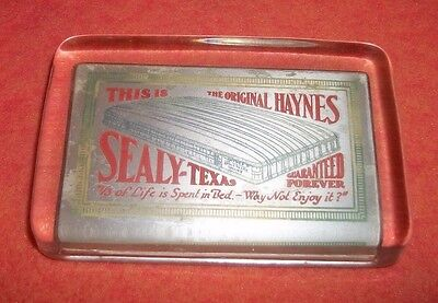 """RARE """"THIS IS THE ORIGINAL HAYNES MATTRESS~SEALY, TEXAS"""" Advertising Paperweight"""
