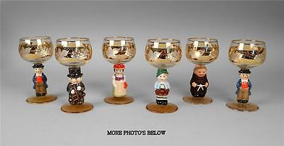 "Hummel Goebel Set Of 6 E & A Bockling Neudenau 5 3/4"" Figural Wine Glasses"