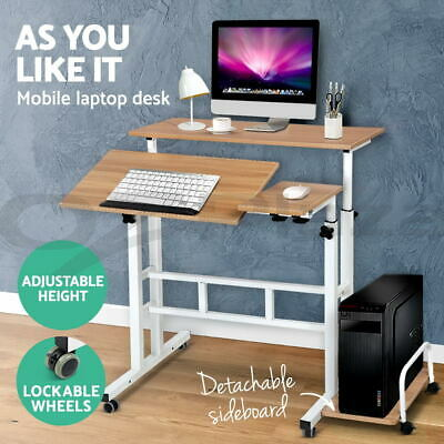 Mobile Portable Laptop Desk Computer Sit Stand Work Height Adjustable Table