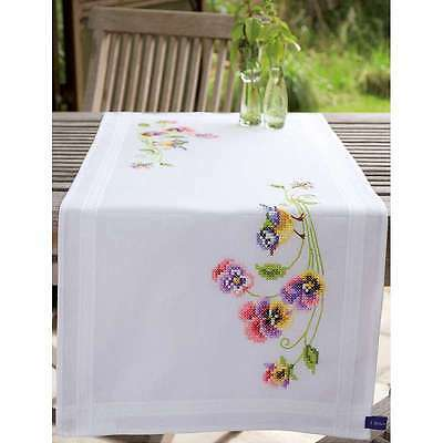 """Little Birds And Pansies Table Runner Stamped Embroidery Kit 16""""X4 499991971183"""