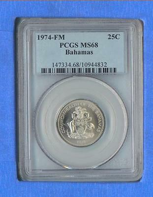 1974-FM Bahamas Twenty Five Cent PCGS MS68   TOP POP 1 ONLY **VERY SWEET COIN**