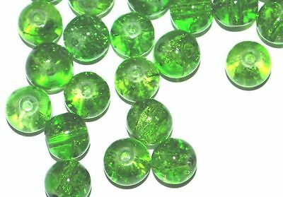 x100 COLOURED GLASS ROUND CRACKLE JEWELLERY CRAFT BEADS - 8mm - GREEN