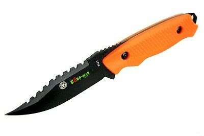 "8"" Zomb-War Rambo Hunting Knife with Sheath Orange 8422"